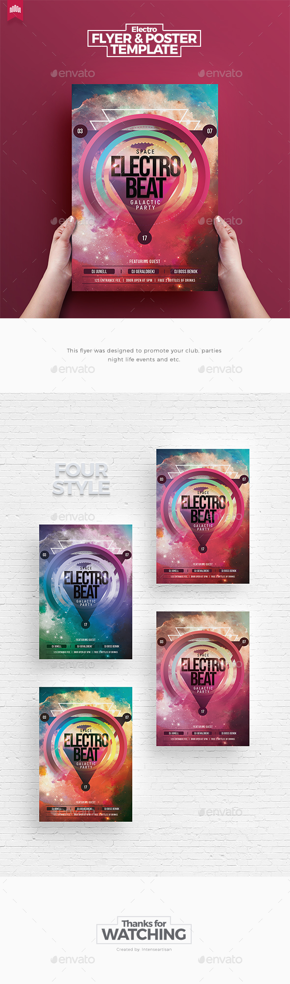 Space Electro Beat - Flyer Template - Clubs & Parties Events