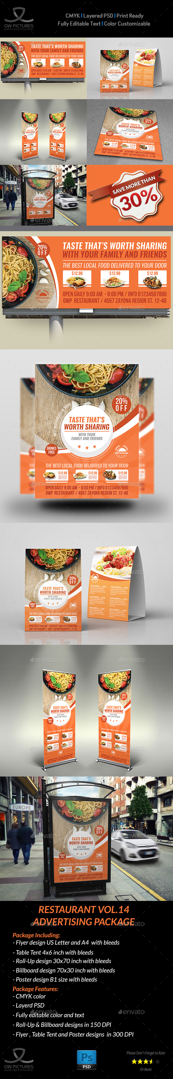 Restaurant Advertising Bundle Template Vol.14