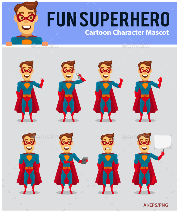 Superhero Cartoon Mascot - People Characters