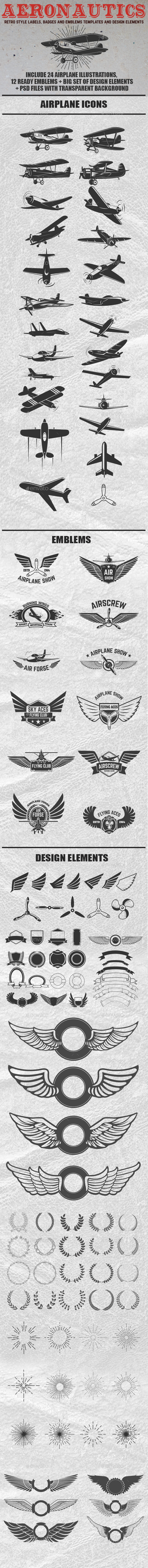 Retro Style Airplane Emblems and Design Elements - Retro Technology