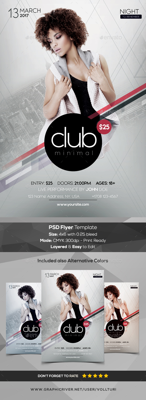 Club Minimal - PSD Flyer Template - Events Flyers