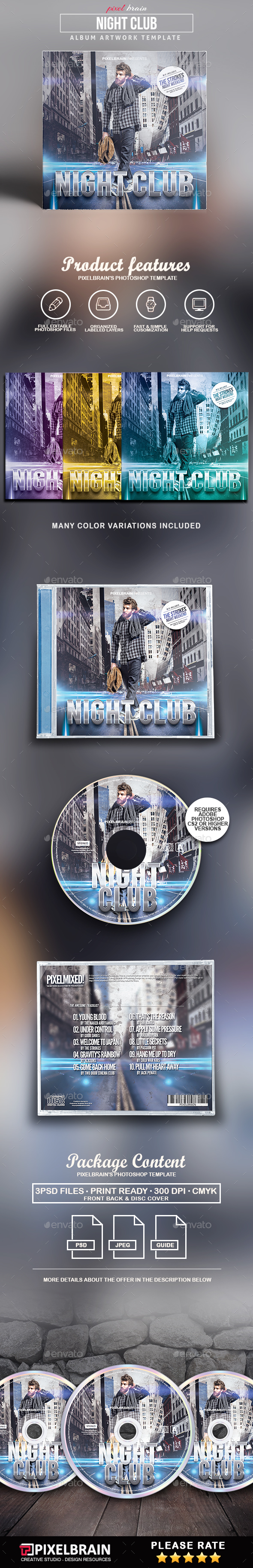 Night Club CD Cover Artwork - CD & DVD Artwork Print Templates