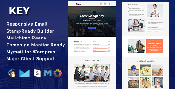 KEY – Multipurpose Responsive Email Template With Stamp Ready Builder Access