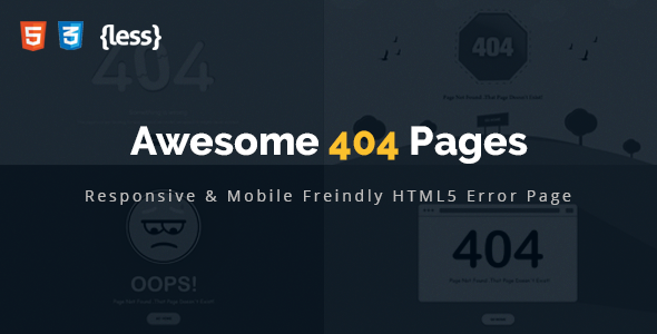Awesome 404 Error HTML Template - 404 Pages Specialty Pages