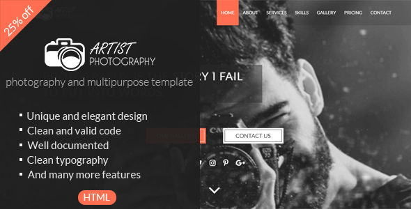 Artist | Photography & Mutipurpose One Page HTML5 Template
