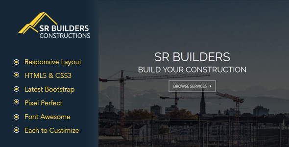 SR Construction – Construction Business HTML5 Responsive Template