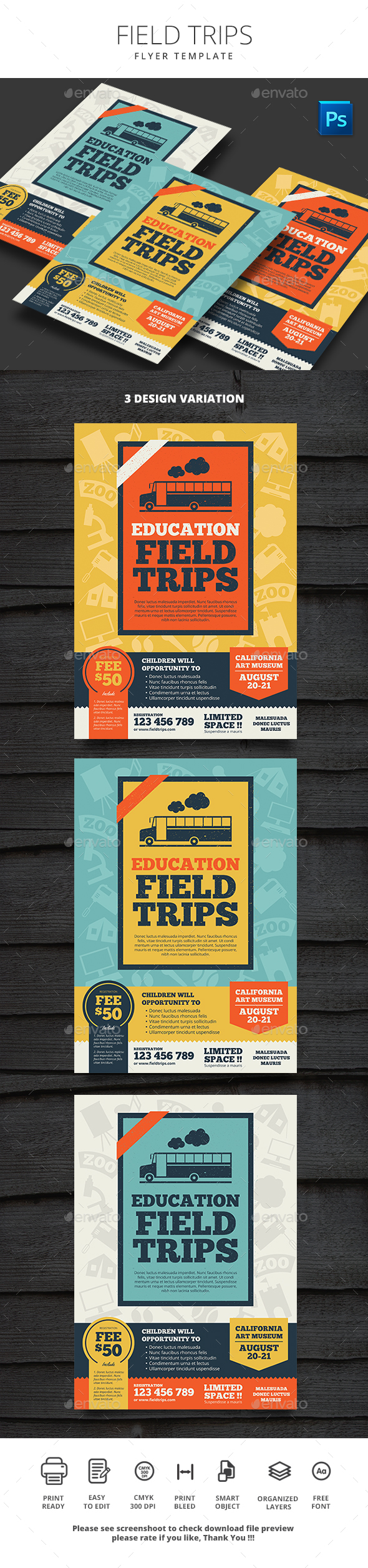 Field Trips - Flyers Print Templates