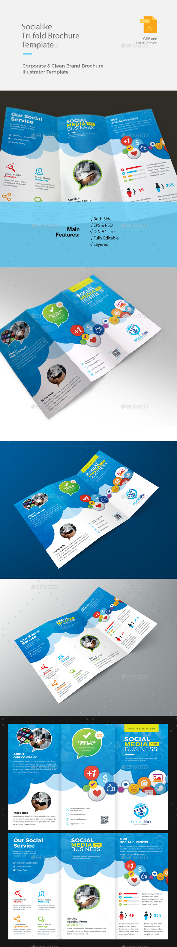Social Media Trifold Brochure - Corporate Brochures