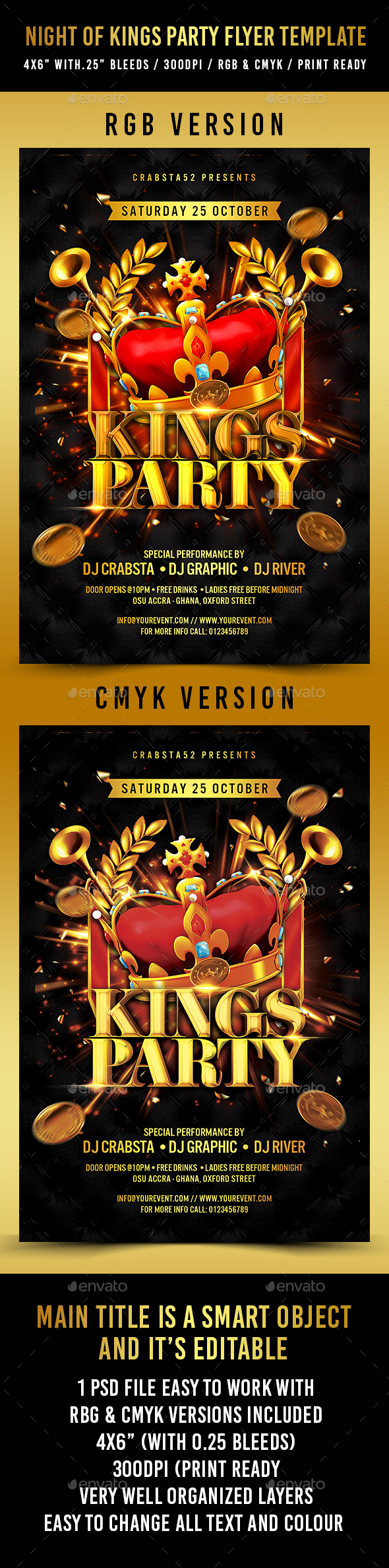Night of Kings Party Flyer Template - Flyers Print Templates