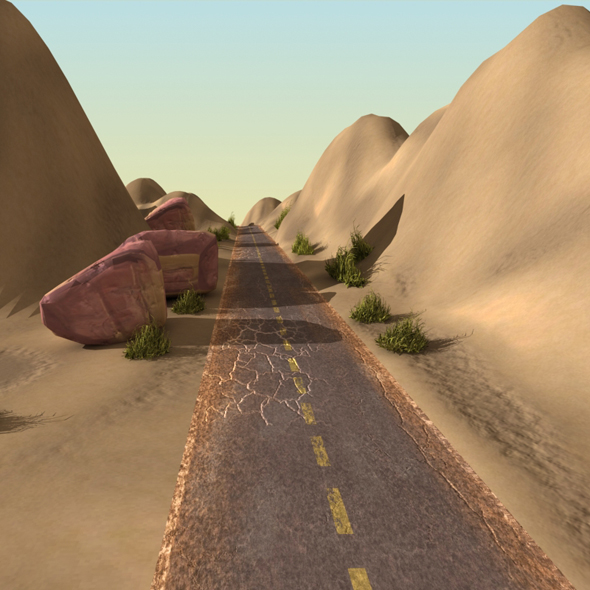Desert Landscape with Road - 3DOcean Item for Sale