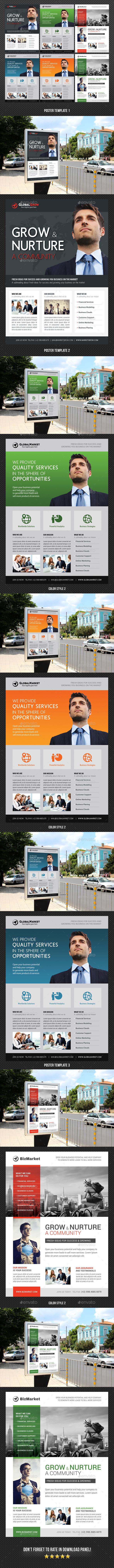 3 Corporate Business Poster Bundle 02 - Signage Print Templates