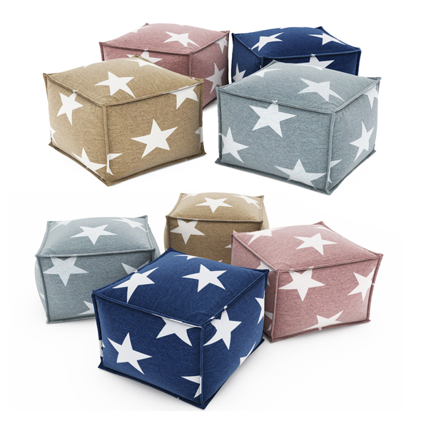 Star IndoorOutdoor Pouf Ottoman - 3DOcean Item for Sale