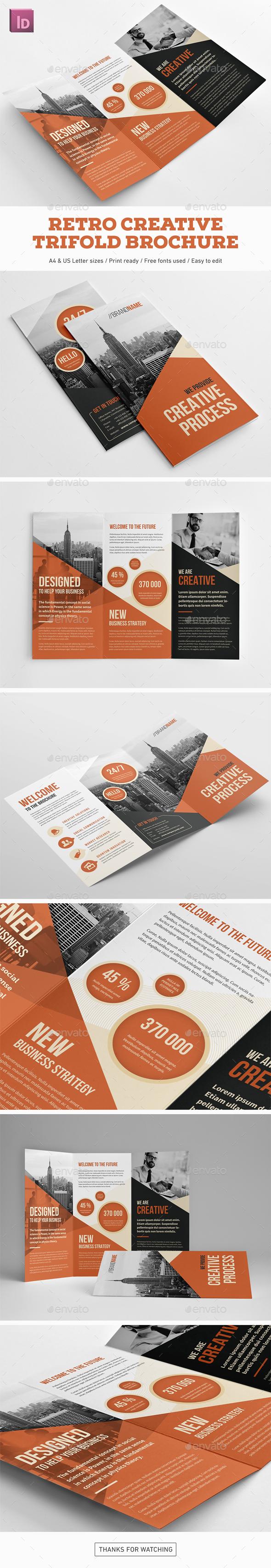 Retro Creative Trifold Brochure - Corporate Brochures