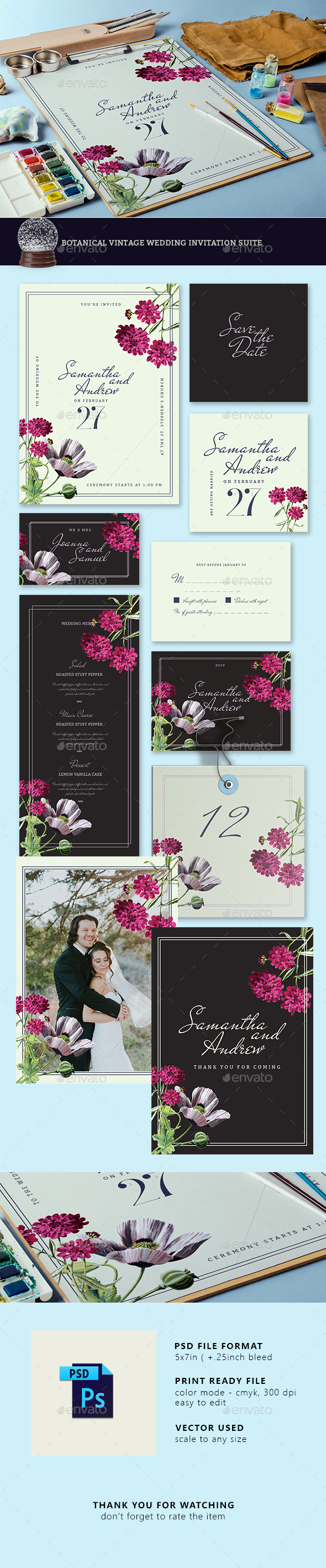 Botanical Vintage Wedding Invitation Suite - Weddings Cards & Invites