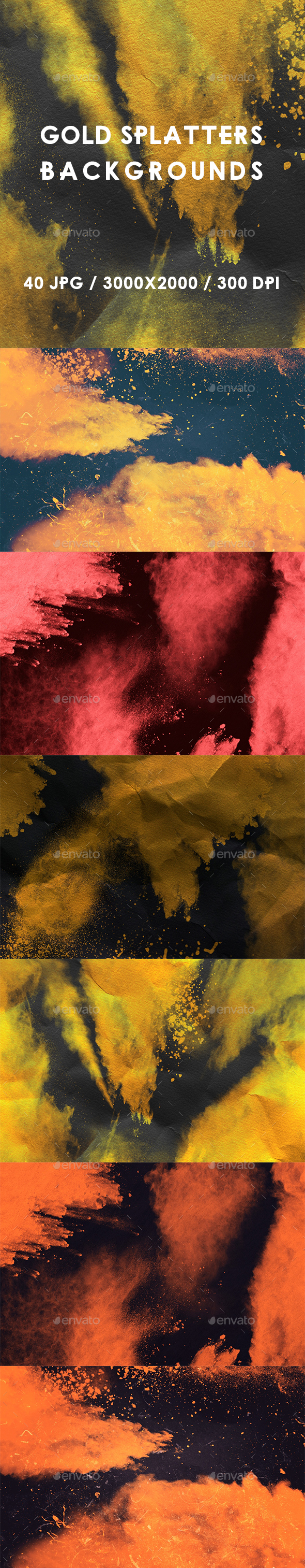40 Gold Splatters Backgrounds - Abstract Backgrounds