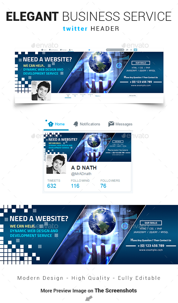Elegant Business Service Twitter Header - Social Media Web Elements
