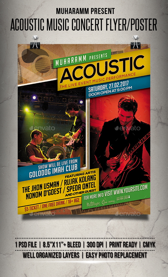 Acoustic Music Concert Flyer / Poster - Events Flyers