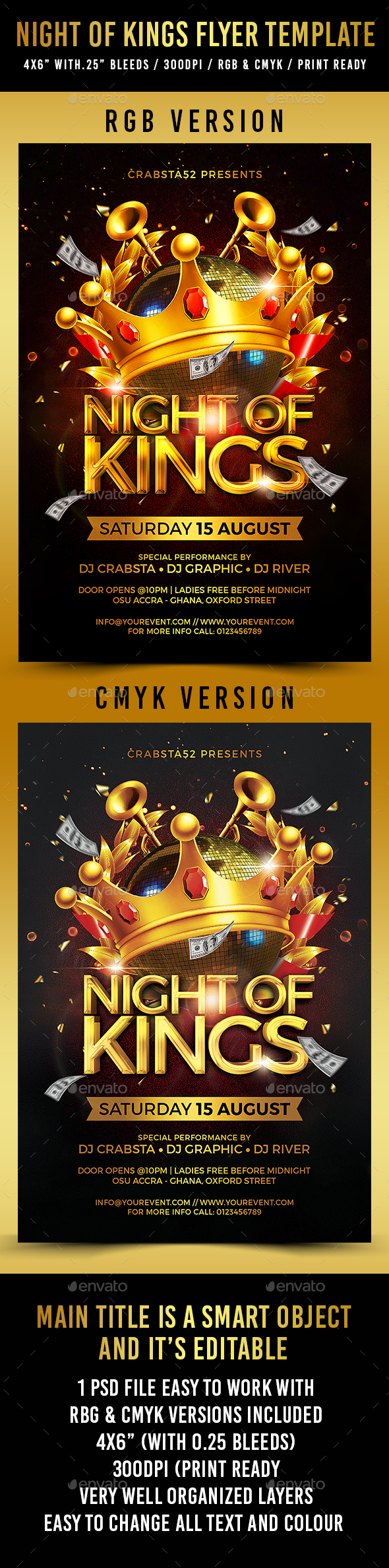 Night of Kings Flyer Template - Clubs & Parties Events