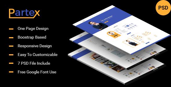 Partex - One page Resume/ CV & Personal Portfolio PSD Template - PSD Templates