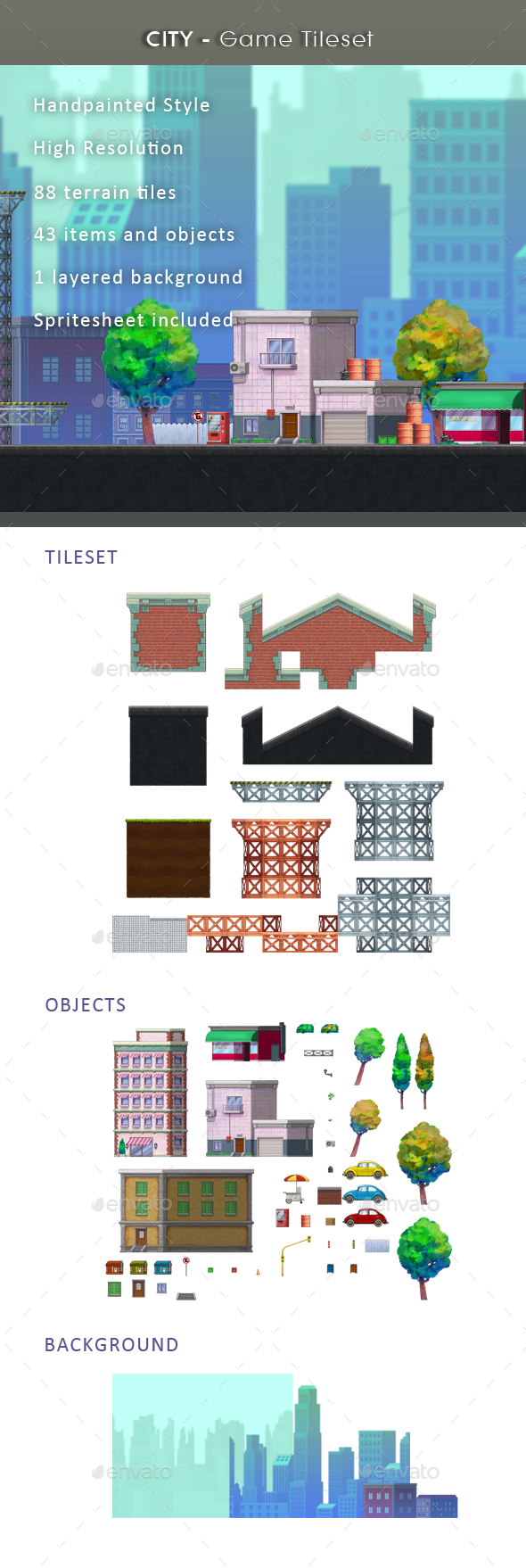 City - Game Tileset - Tilesets Game Assets