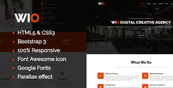 Wio One Page HTML Template - Corporate Site Templates