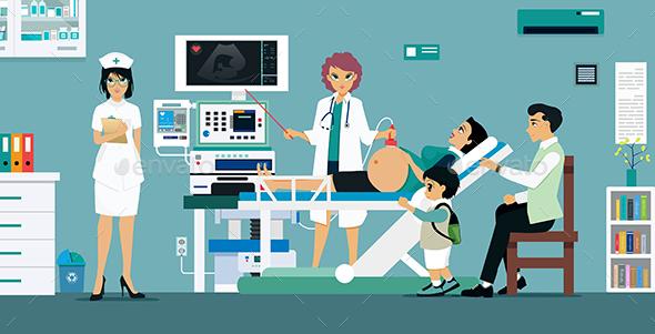 Doctor Ultra Sound Pregnant Women - Health/Medicine Conceptual