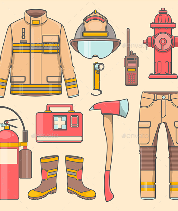 Fireman Uniform and First Help Equipment Set and Instruments - Man-made Objects Objects