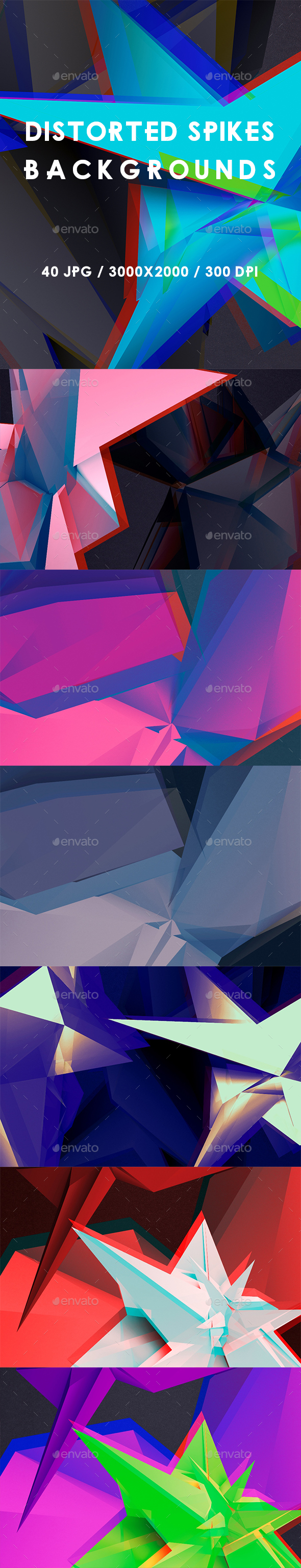 40 Distorted Spikes Backgrounds - Abstract Backgrounds