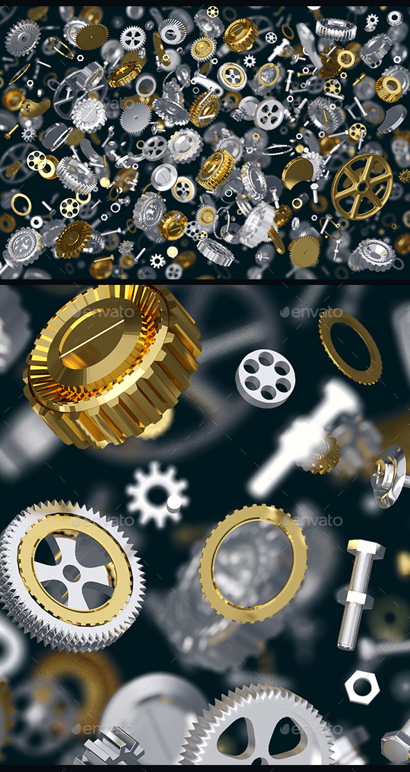 3D rendering of silver and gold gears - Objects 3D Renders