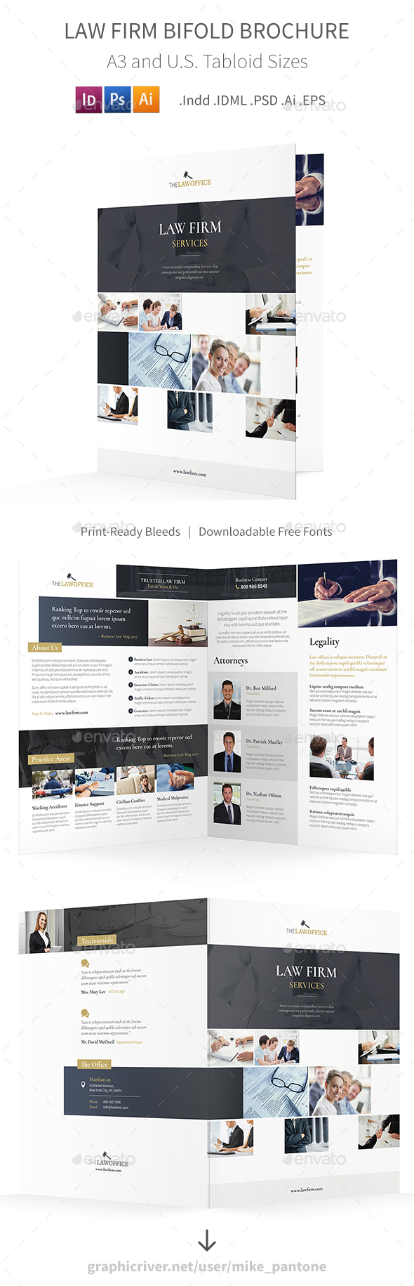 Law Firm Bifold / Halffold Brochure - Corporate Brochures