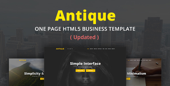 ANTIQUE - One Page HTML5 Business Template - Business Corporate