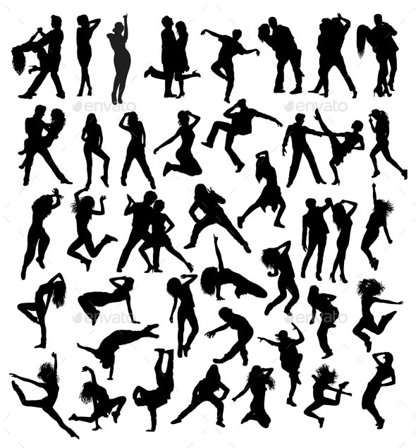 Salsa and Modern Dance Silhouettes - People Characters