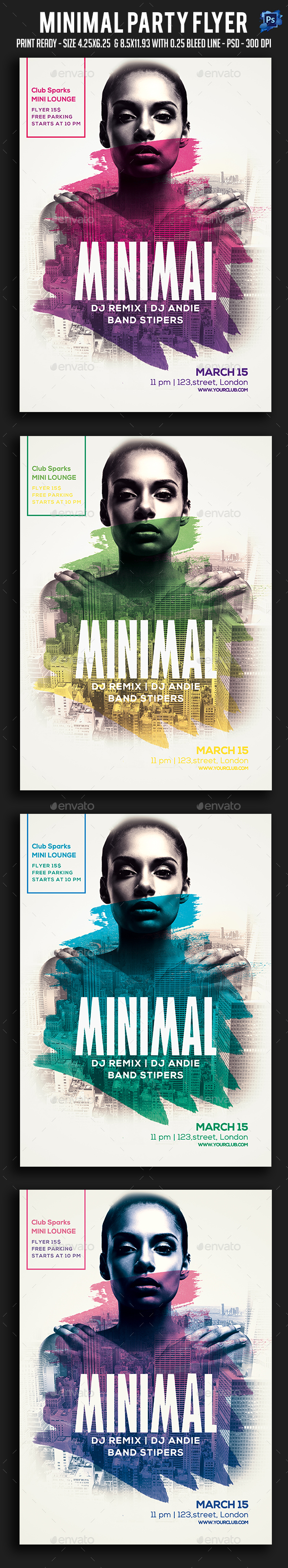 Minimal Party Flyer - Clubs & Parties Events