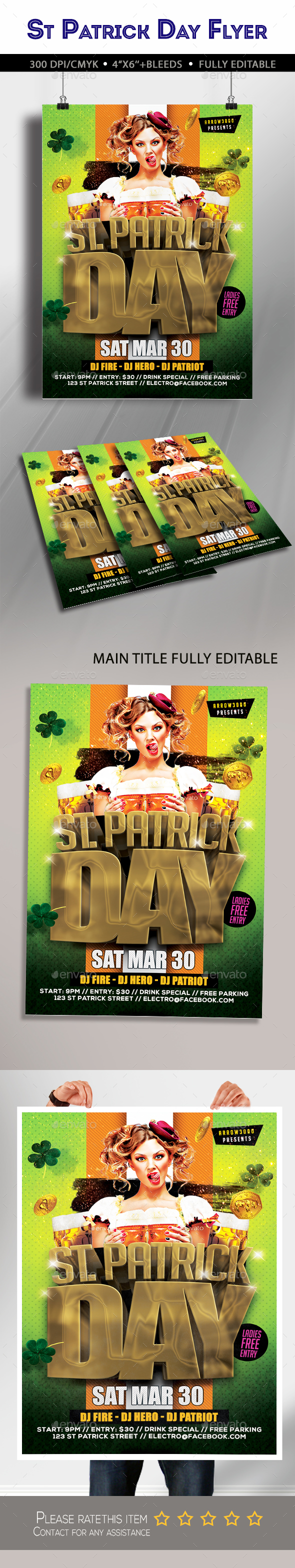 St Patricks Day Flyer - Clubs & Parties Events