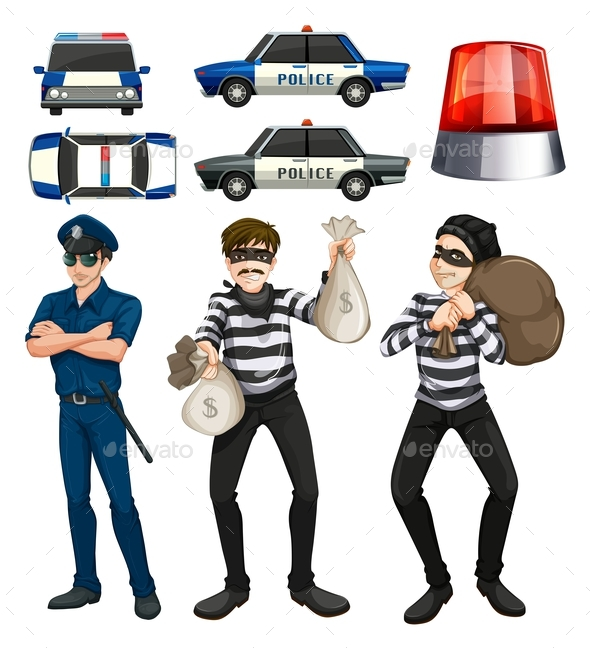 Policeman and Robbers Set - People Characters