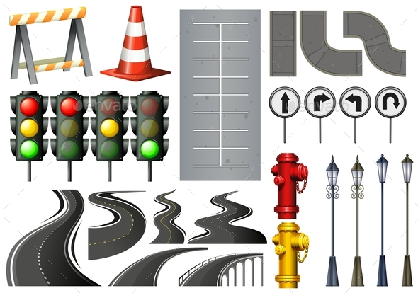 Different Items and Safety Equipment for Traffic - Man-made Objects Objects