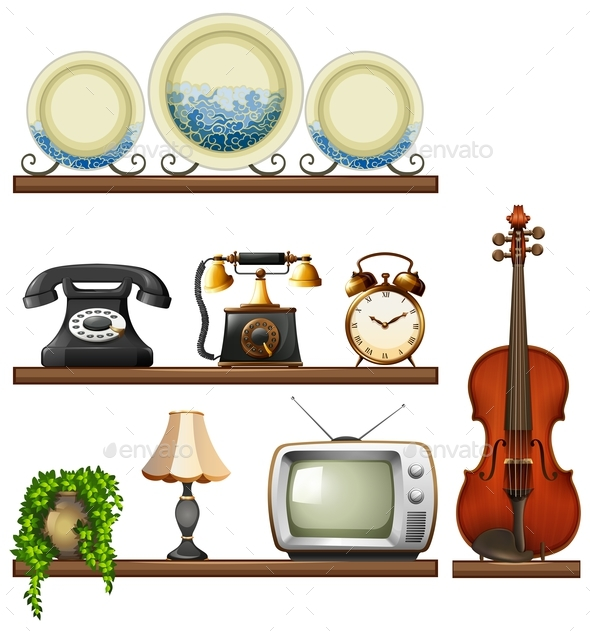 Vintage Collection with Entertainment Devices - Objects Vectors