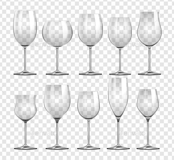 Different Types of Wine Glasses - Objects Vectors