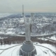Aerial View. Monument of World War II. City Aerial view. The Camera Flies Around the 102 Meter