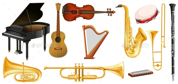 Different Types of Classical Music Instruments - Man-made Objects Objects