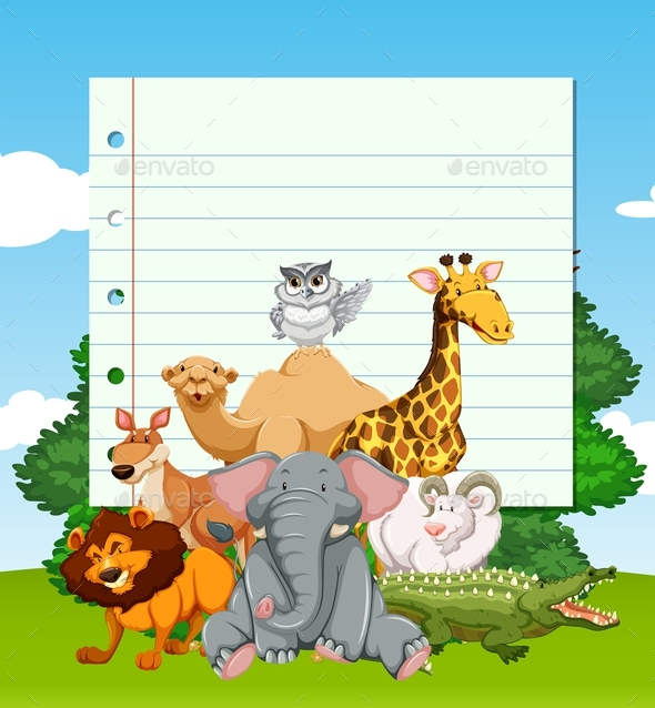 Paper Template with Wild Animals in the Field - Animals Characters