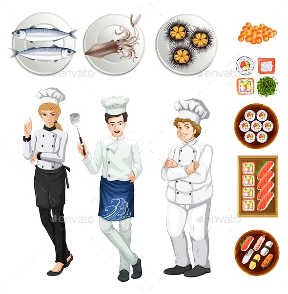 Chefs and Different Dishes of Food - People Characters