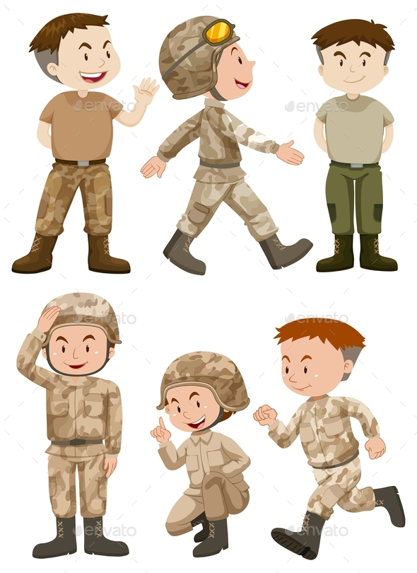 Soldiers in Different Actions - People Characters