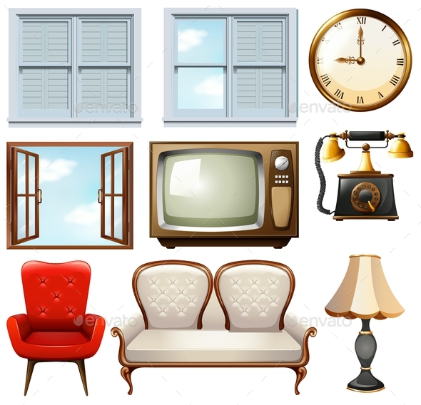Different Vintage Furnitures on White - Man-made Objects Objects