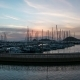 A Harbour View at Sunset. Yacht Marina with Night Illumination