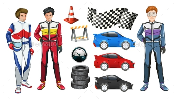 Racing Cars and Three Racers - People Characters