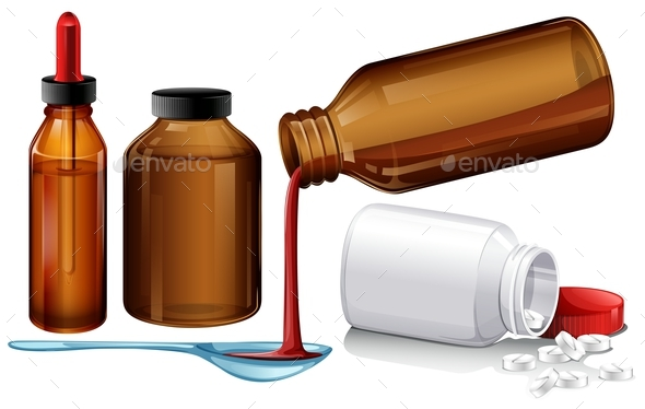 Different Types of Medicine - Objects Vectors