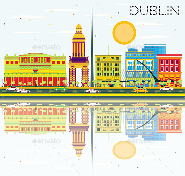 Dublin Skyline with Color Buildings, Blue Sky and Reflections. - Buildings Objects