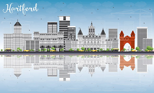Hartford Skyline with Gray Buildings, Blue Sky and Reflections. - Buildings Objects