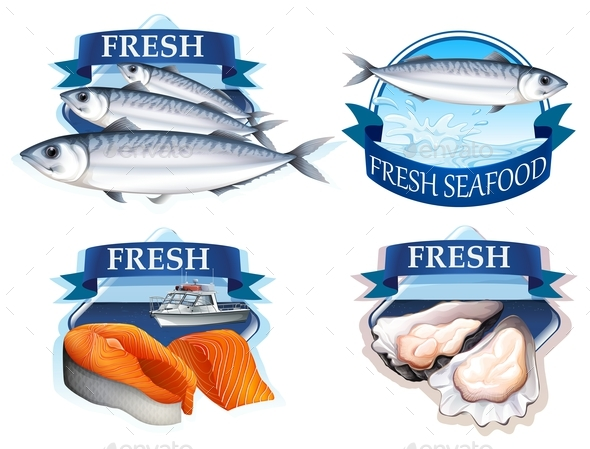 Label Design with Word and Seafood - Food Objects